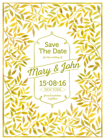green yellow: Wedding card with watercolor frame of leaves. Save the date. Illustration