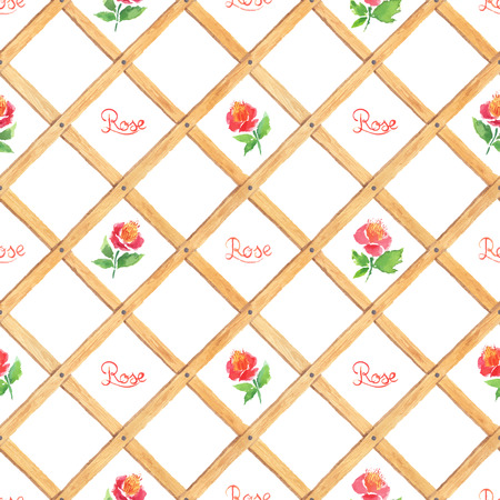 trellis: Watercolor wooden trellis with roses. Vector seamless pattern.