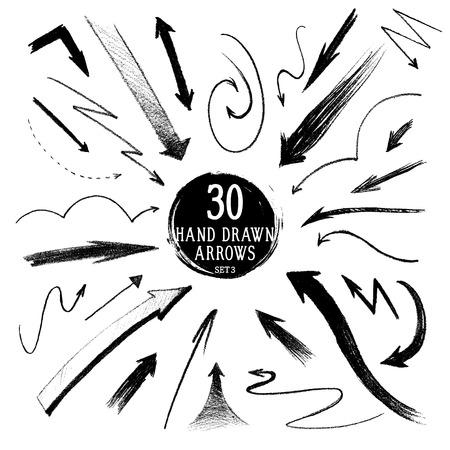 handdrawn: Set of hand-drawn pencil arrows