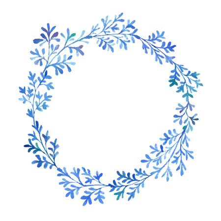 herbaceous border: Watercolor branches and leaves fantastic blue. Use for your cards, flyers and invitations.