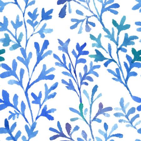 수채화 나뭇 가지와 환상적인 파란색 나뭇잎. 벡터 원활한 패턴입니다. 일러스트