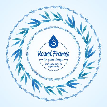 수채화 나뭇 가지를 설정하고 파란색 라운드 프레임 나뭇잎. 벡터화 수채화 드로잉입니다. 귀하의 카드, 전단지 및 초대장을 위해 사용하십시오.