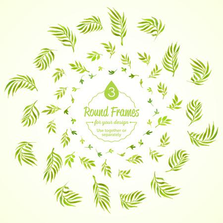 수채화 나뭇 가지를 설정하고 녹색 라운드 프레임 나뭇잎. 벡터화 수채화 드로잉입니다. 귀하의 카드, 전단지 및 초대장을 위해 사용하십시오.