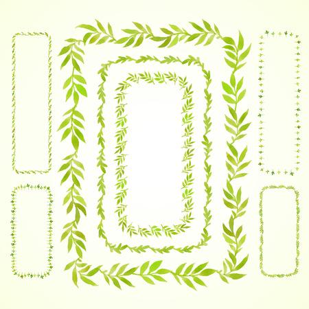 수채화 지점을 설정하고 녹색 사각형 프레임을 떠난다. 벡터화 수채화 그리기. 당신의 카드, 전단지 및 초대장에 사용합니다.