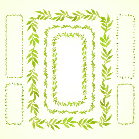 herbaceous border: Set watercolor branches and leaves green rectangular frame. Vectorized watercolor drawing. Use for your cards, flyers and invitations.