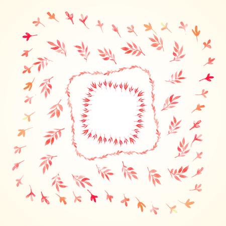 수채화 나뭇 가지를 설정하고 빨간색 사각형 프레임을 남겨 둡니다. 벡터화 수채화 드로잉입니다. 귀하의 카드, 전단지 및 초대장을 위해 사용하십시 일러스트