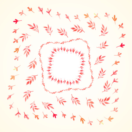 herbaceous: Set watercolor branches and leaves red square frames. Vectorized watercolor drawing. Use for your cards, flyers and invitations. Illustration