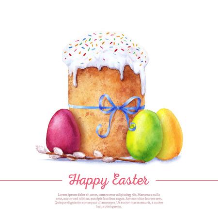 부활절 케이크, 계란 및 버드 나무 나뭇 가지 수채화 물감. 벡터화 수채화 드로잉입니다.