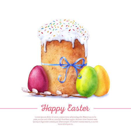 Easter cake, eggs and willow twigs painted watercolor. Vectorized watercolor drawing. Illustration
