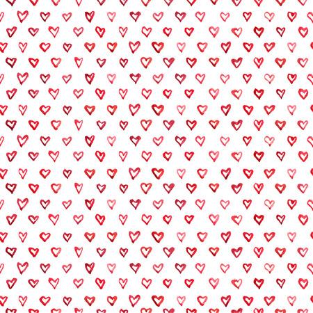 마음의 벡터 원활한 패턴 수채화에서 그렸다.
