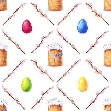 russian food: Easter cake, eggs and willow twigs painted in watercolor. Vector seamless pattern. Illustration