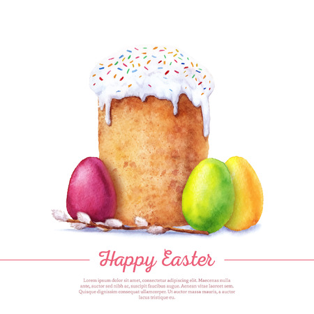 russian easter: Easter cake, eggs and willow twigs painted watercolor. Vectorized watercolor drawing. Illustration
