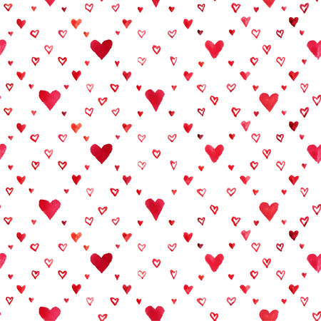 Vector seamless pattern of hearts painted in watercolor.