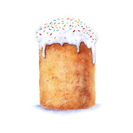 부활절 케이크 손으로 그린 수채화입니다.