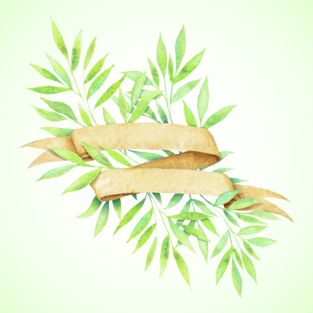 Painted watercolor vintage paper tape and green leaves.  Vector