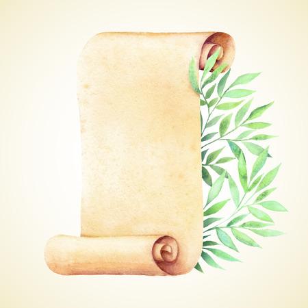 그린 수채화 오래 된 종이와 녹색 잎.
