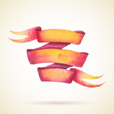 페인트 수채화 빨간색과 노란색 리본입니다. 일러스트