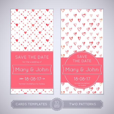 수채화 원활한 패턴 두 개의 웨딩 카드.