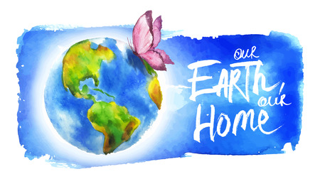 globe hand: Painted in watercolor banner for earth day.  Illustration