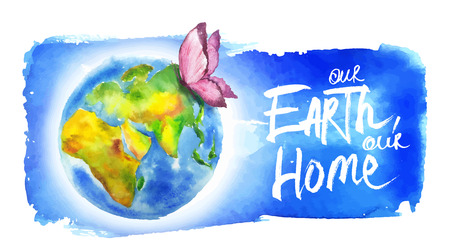 Painted in watercolor banner for earth day.  일러스트