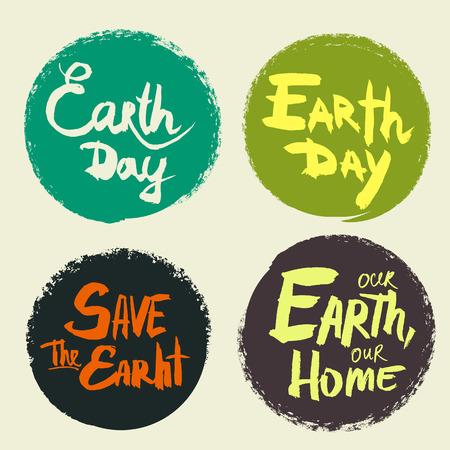 지구의 날에 대 한 필기 비문 세트입니다.
