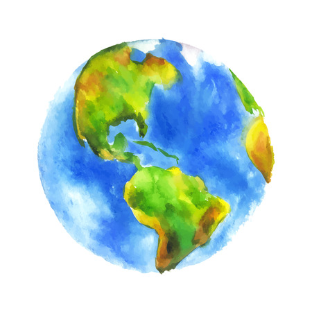 globe hand: Globe Earth painted watercolor.