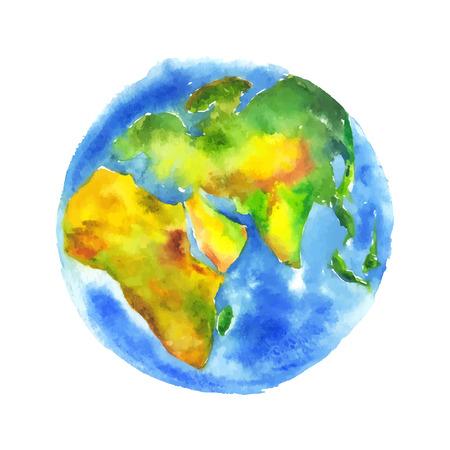 地球地球を描いた水彩画。