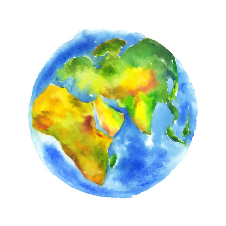 mundo manos: Globo de la tierra pintó la acuarela.