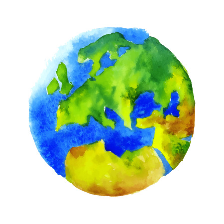 globe  the terrestrial ball: Globe Earth painted watercolor.