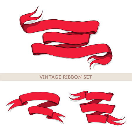ilustration and painting: Set of vintage red ribbons. Drawn by hand. Ribbons for your invitation, postcards, cards and so on.