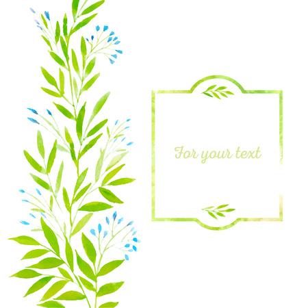 그린 봄 수채화 색칠 가지를 남긴다. 체격 수채화 프레임. 봄은 그래서 초대, 엽서, 카드 및 떠난다.