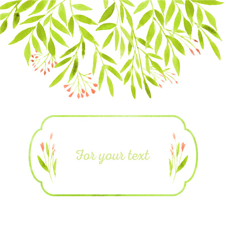 Green spring leaves with branches painted in watercolor. Figured watercolor frame. Spring leaves for your invitation, postcards, cards and so on. Illustration