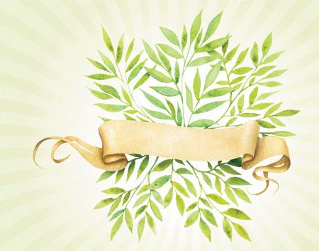 그린 수채화 빈티지 종이 테이프와 녹색 잎.