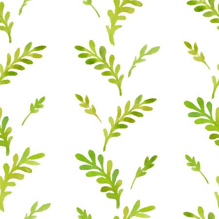 잎과 나뭇 가지의 수채화 패턴. 일러스트