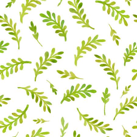나뭇잎과 나뭇 가지의 수채화 패턴입니다.