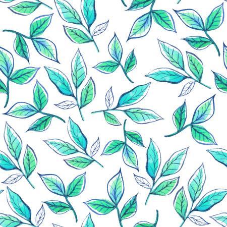 수채화 지점과 녹색 잎. 일러스트