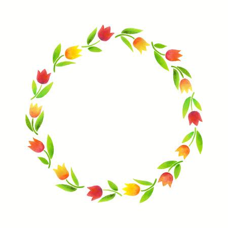 水彩のチューリップは、春の花カード、招待状、お祝いの花輪。  イラスト・ベクター素材