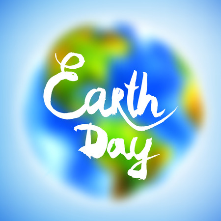 지구의 날에 대 한 수채화 배너에 그려진.