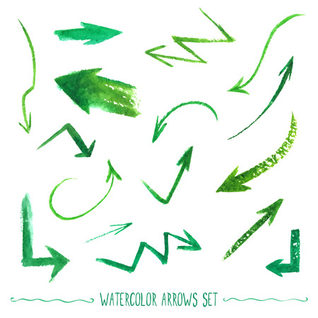 vectorized: Set of hand-drawn watercolor arrows. Vectorized drawn elements.
