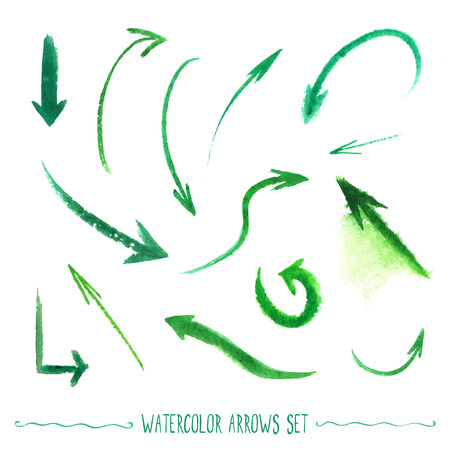 Set of hand-drawn watercolor arrows. Vectorized drawn elements.