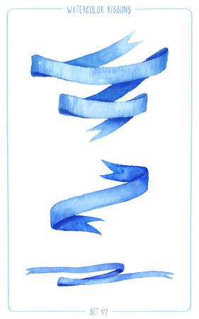 ilustration and painting: Set of painted watercolor ribbons. Vectorized watercolor illustration. Use ribbons for your invitation, postcards, cards and so on.
