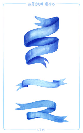 Set of painted watercolor ribbons. Vectorized watercolor illustration. Use ribbons for your invitation, postcards, cards and so on.