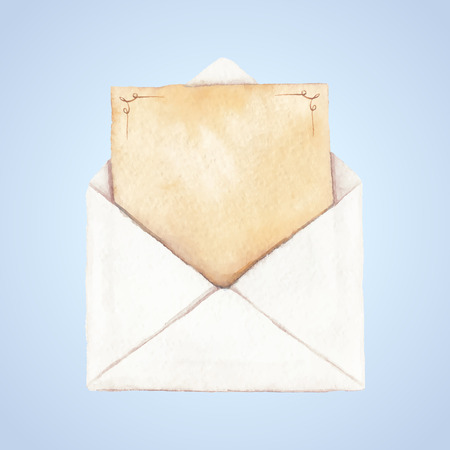 vectorized: Envelope with a letter painted in watercolor. The letter is decorated with ornaments. Vectorized watercolor illustration.