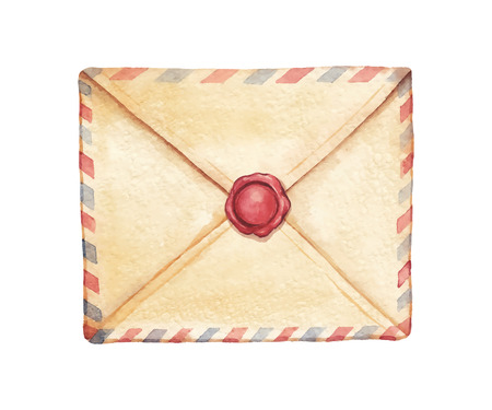 Old envelope sealed with wax stamped - painted in watercolor. Vectorized watercolor illustration.