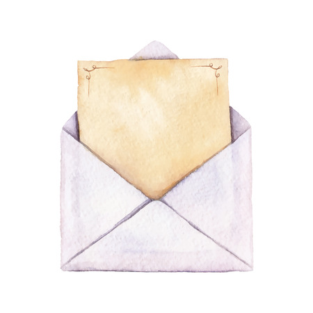 Envelope with a letter painted in watercolor. The letter is decorated with ornaments. Vectorized watercolor illustration.
