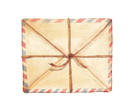 Old envelope associated cord - painted in watercolor. Vectorized watercolor illustration. 일러스트