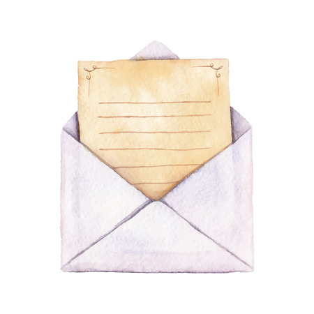 Envelope with a letter painted in watercolor. The letter is decorated with ornaments and lined. Vectorized watercolor illustration. Ilustração
