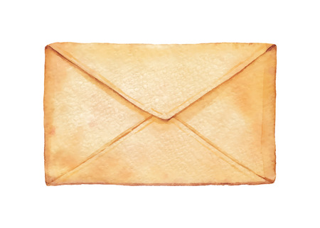 Old envelope painted watercolor. Vectorized watercolor illustration. 일러스트
