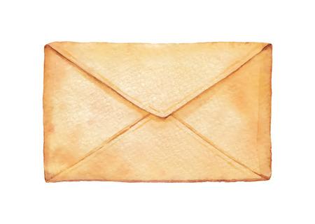 old envelope: Old envelope painted watercolor. Vectorized watercolor illustration. Illustration