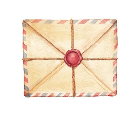 tampon cire: Old envelope associ� cordon et scell� avec de la cire timbre - peint � l'aquarelle. Vectoris� illustration d'aquarelle.